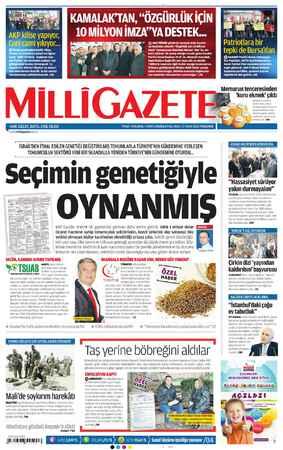 Milli Gazete Gazetesi 17 Ocak 2013 kapağı