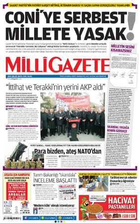 Milli Gazete Gazetesi 19 Ocak 2013 kapağı