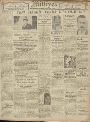Milliyet Gazetesi 5 Ocak 1929 kapağı