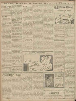 D ni Fikir, Ki B ÂSRIK ÜMDESİ *MİLLİYET,TİR 15 KÂNUNUSANI 1929 BUGÜNKÜ HAVA tasathaneden aldığımız mlümatt in Tözla hürarer
