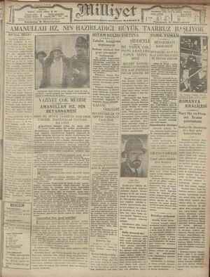 Milliyet Gazetesi 21 Ocak 1929 kapağı