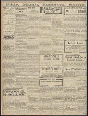 """RE b 1 Mizah, E Asrın umdesi """"Milliyet"""" tir 2 EYLÜL 1930 IDAREHANE — Ankara caddesi No: 100 Telgraf adresi: Milliyet, İs..."""