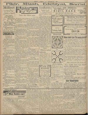 """KE EA SE KE Asrın umdesi """"Müliyef"""" tir 10 K. EVVEL 1930 IDAREHANE — Ankara caddesi No: 100 Telgraf adresi: Milliyet, İs-..."""
