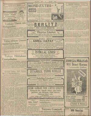 MILLIYET o SALI 29 EYLUL 1931 Bütün dünya şporcularımın tıraş oldukları yegâne bıçak MOND-EXTRA: 9 Uzun müddet Radium tıraş