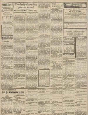 MİLLİYET PERŞEMBE, Sailiyet Trenleri yollarından | Asrın umdesi «Milliyet» tir. 5 TEŞRİNİSANİ 1931 IDAREHANE — Ankara...
