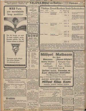 Günlük taze yumurta, nefis taze tereyağ, yoğurt, şişelerde | Pastörize | süt MILLIYEI MBA II MAYIS 1932 YALOVA Millet ve