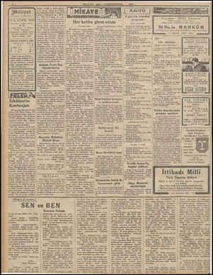 Milliyet esi «MİLLİYET 13 K.EVVEL 1932 Iderehane: o Ankara caddesi, 100 Na. Telgraf adresi: İst, Milliyet Telefon Numaraları: