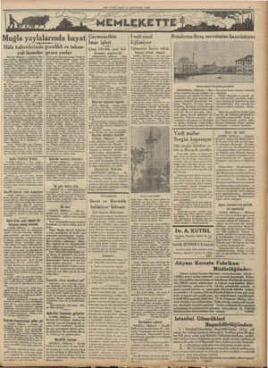 MİLLİYET SALI 15 AĞUSTOS 1933 Muğla yaylalarında hayat Hâla kahvelerinde gecelikli ve takun- yalı insanlar gezen yerler MILAS