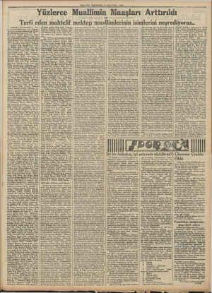MİLLİYET PERŞEMBE 17 AĞUSTOS 1933 Yüzlerce Muallimin Maaşları Arttırıldı Terfi eden muhtelif mektep muallimlerinin...