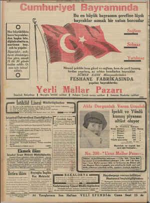 MILLıYE ÇAKŞAMBA b EYLUL 1933 Bu en büyük bayramın şerefine lâyık bayraklar asmak bir vatan borcudur EN y O Her büyüklükte