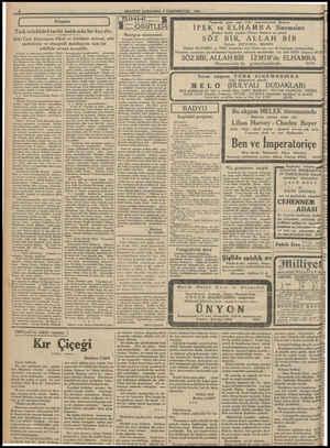 MİLLİYET ÇARŞAMBA 4 ŞRİNİEVVEL (1933 ( 3 Kitaplar   Türk tefekkürü tarihi hakkında bir kaç söz.. Eski Türk dünyasının itikat