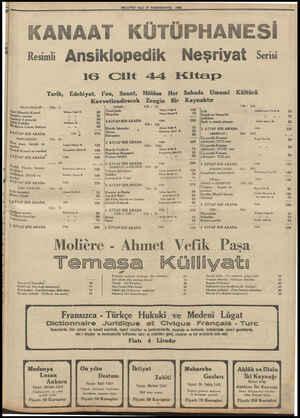 MİLLİYET SALI 3İ TEŞRİNİEVVEL 1933 ANAAT KÜTÜPHANESİ Resimli Ansiklopedik Neşriyat Serisi IG Cilt 44 Kitap Tarih, Edebiyat,