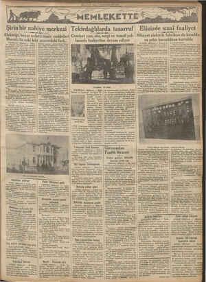 MİLLİYET SALI 2 KANUNUSANI 1934 Şirin bir nahiye merkezi Elektriği, beyaz evleri, temiz caddeleri y arasındaki fark....