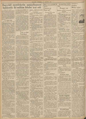 Başvekil memleketin sanayileşmesi MILLIYET ÇARŞAMBA 15 AĞUSTOS 1934 hakkında iki mühim hitabe irat etti (Başı 1 inci...