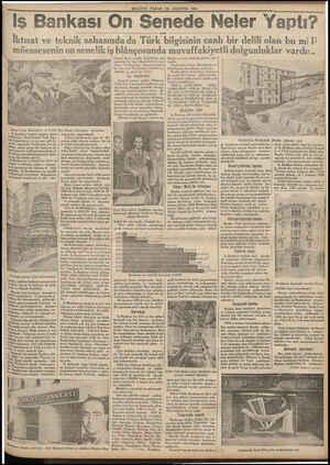 MILLIYET PAZAR **26 AGUSTOS 1934 Is Bankası O n Senede Nel er Yaptı? İktisat ve teknik sahasında da Türk bilgisinin canlı bir