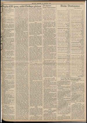 MILLIYET PERŞEMBE 30 AGUSTOS 1934 Bugün 650 genç zabit Orduya giriyor 1 inci sahifede) ralay Rifat Beylerle muallimleri...