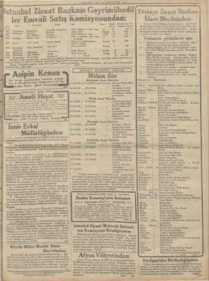 MİLLİYET CUMA! 1? TEŞRİNEVVEL 1934 İstanbul Ziraat Bankası Gayrimübadil , Türkiye Ziraat Bankası ler Emvali Satış...