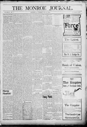 The Monroe Journal Gazetesi May 26, 1903 kapağı