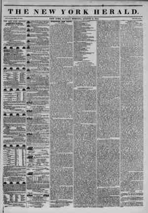 "sm THE NEW YORK HERALD. vax, ?...???. JVEW YORK, SUNDAY MORNING, AUGUST 11, 1844. T?c"""" THE NEW YORK HERALD. AGGREGATE..."