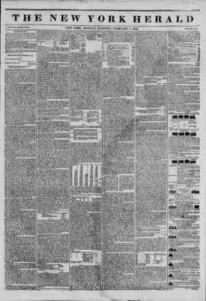 THE NEW YORK HERA1 Vol. XI., No. 33?'YVhols No. 300*. NEW YORK. MONDAY MORNING, FEBRUARY 3. 1845. frico Two Cents* The Morrle