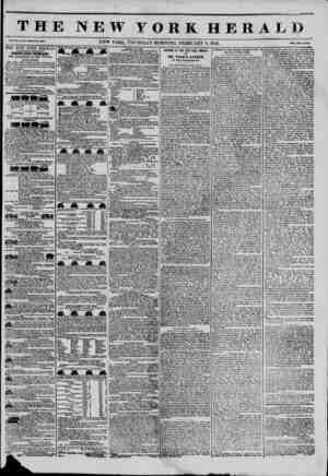 THE NEW YORK HERA1 Vol. XI., Ho. 30?Wholo Ho. 3OT8. NEW YORK. THURSDAY MORNING. FEBRUARY 6, 1845. Prlco Two Con to* THE NEW
