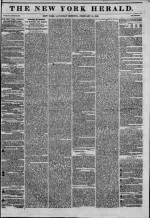 THE NEW YORK HERALD. NEW YORK, SATURDAY MORNING, FEBRUARY 21, 1846. THE NEW YORK HERALD. JAMES GORDON BEMKTT, Proprietor....