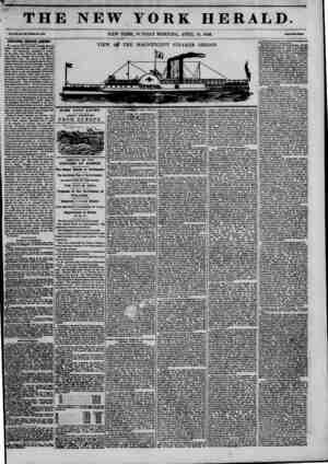 "THE NEW YORK HERALD. NEW YORK, SUNDAY MORNING, APRIL 19, 1846. ""? STEAMER OREGON ASHORE! We received news yesterday moraine"