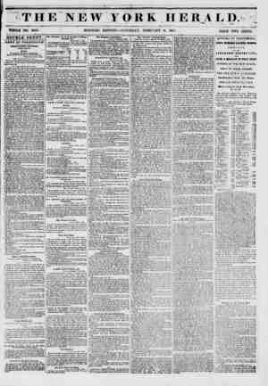 T HE NEW YORK HE R A L D.= WHOLE NO. 6083. ?* MORNING EDITION ? SATURDAY, FEBRUARY 8, 185 J PRICE TWO CENTS. DOUBLE SHEET.