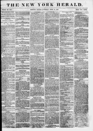 """? THE NEW WHOLE NO. 6805. MORNING YORK HERALD. EDITION""""-!? \TTJRD AY, APRIL 14 1855. PRICE TWO CENTS. ARRIVAL OF THF AMERICA"""