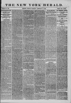 I THE NEW YORK HERALD. WHOLE NO. 7110. MORNING EDITION-SATURDAY, FEBRUARY 16, 1856. PRICE TWO CENTS. I ADDITIONAL FROM THE
