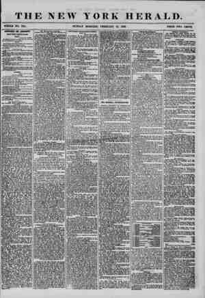 THE NEW YORK HERALD. WHOLE NO. Till. SUNDAY MORNING, FEBRUARY 17, 1866. PRICE TWO CENTS. NEW YORK UBOI8UTUBH. Senate. Auiany,
