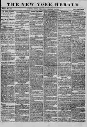 """THE NEW YORK HERALD. WHOLE iro. 7114 MORNING EDITION? WEDNESDAY"""", FEBRUARY 20, 1855. PRICE TWO CENTS. THE CANADA AT BOSTON."""