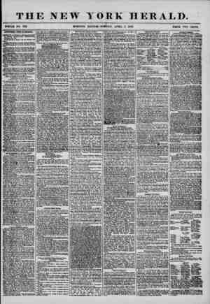 """THE NEW YORK HERALD. WHOLE NO. 7161 MORNING EDITION? MONDAY"""", APRIL 7, 1856. PRICE TWO CENTS ADDITIONAL FROM B1CABAQUA...."""