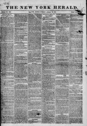 """THE NEW YORK HERALD. . iWHOLH NO. 7287. MOj^YING EDITION? TUESDAY, At/GUSt"""" 12> 1856 PRICE HEALTH OF THE CITY. Ita Y*Uow..."""
