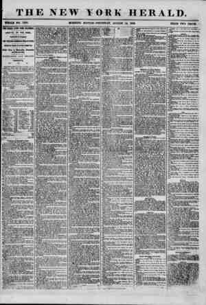 THE NEW WHOLB NO. 7289. MORNING YORK HERALD. EDITION-THURSDAY, AUGUST 14, 1856. PRICE TWO CENTS. TWO WEEKS LATER FROM...