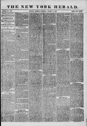 THE NEW YORK HERALD. WHOLE NO. 7296. MORNING EDITION? THURSDAY, AUGUST 21, 1858. PRICE TWO CENTS. ARRIVAL OF THE AFRICA....