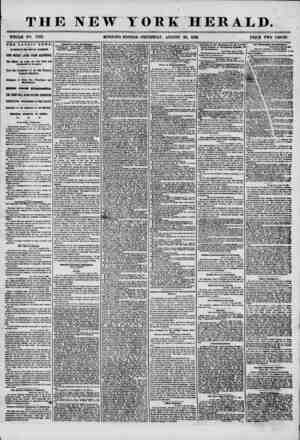 THE NEW YORK HERALD. WHOLE NO. 7303. MORNING EDITION-THURSDAY, AUGUST 28, 1856. PRICE TWO CENTS. THE LATENT NEWS. BY MAGNETIC