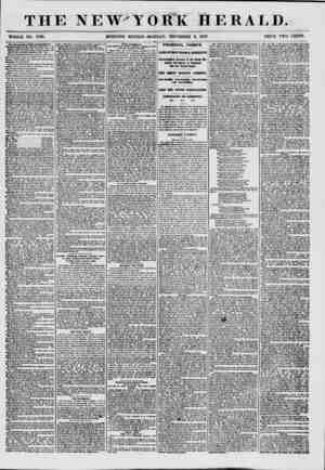 """THE NEW'T WHOLE NO. 7739. MORNING EDITION OBI HERALD. MONDAY"""", NOVEMBER 9, 1857. PRICE TWO CENTS. The Metropolitan FottM..."""