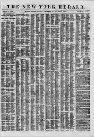 THE NEW YORK HERALD. WHOLE NO. 8780. MORNING EDITION-SATURDAY, SEPTEMBER 22, I860.-TRIPLE SIIEET. PRICE TWO CENTS. LIST OF