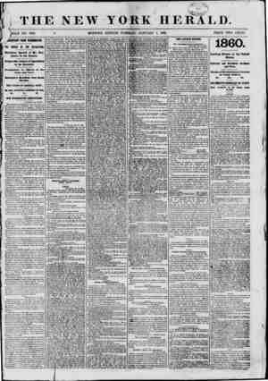 """4l 115-0 I %&>n- <0t i THE NEW YORK HERALD. """"f [OLE NO. 8881. d MORNING EDITION?TUESDAY, JANUARY 1, 1861. PRICE TWO CENTS."""