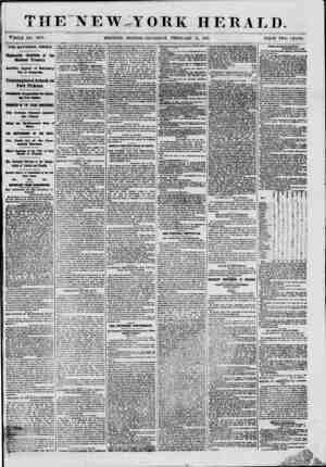 """THE""""NEW,TORK HERALD. V^OLE NO. 8924. MORNING EDITION-THURSDAY, FEBRUARY 14, 1861. PRICE TWO CENTS. THE NATIONAL CRISIS...."""