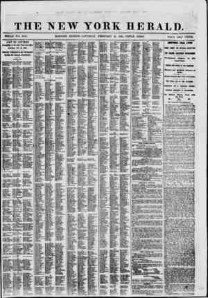 THE NEW YORK HERALD. LIST OF LETTERS in the New York Poet Office Satirday, Feb. 16, 1861. Iflciilly Published la the...