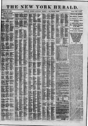 THE NEW YORK HERALD. WHOLE NO. 8947. MORNING EDITION-SATURDAY, MARCH 9, 1861.-TRIPLE SHEET. PRICE TWO CEVTS. list of letters