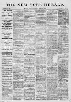 THE NEW YORK HERALD. WHOLE NO. .999(5. MORNING EDITION- SATURDAY, ATR1L 27, 1861. PRICE TWO CENTS. THE^ WAR. Highly Important