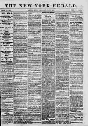 TIIF. NEW YORK HERALD. : WHOLE NO. 9000. MORNING EDITION-WEDNESDAY, MAY 1, 1861. PRICE TWO CENTS. THE WAR. Highly Important