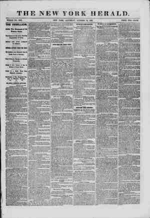 THE NEW YORK HERALD. WHOLE NO. 9163. NEW YORK, SATURDAY, OCTOBER 12, 1861. PRICE TWO CENTS. THE REBELLION Active War...