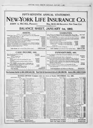 FIFTY-SEVENTH ANNUAL STATEMENT. New-York Life Insurance Co. JOHN A. McCALL, President. Nos. 346 & 348 Broadway, New York...