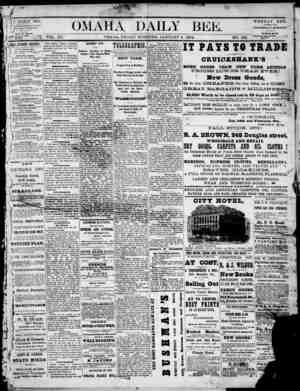 Omaha Daily Bee Gazetesi 2 Ocak 1874 kapağı