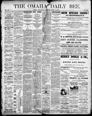Omaha Daily Bee Gazetesi 16 Nisan 1874 kapağı