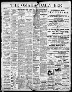 Omaha Daily Bee Gazetesi 17 Nisan 1874 kapağı